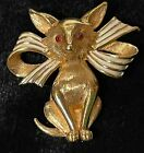 BOUCHER vintage Fox cat animal red eyes bow brooch pin signed Rare