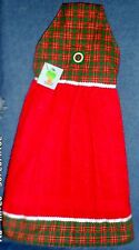 **NEW** Handmade Red & Green Christmas Plaid Hanging Kitchen Hand Towel #1075