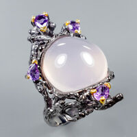 Vintage10ct+ Natural Rose Quartz 925 Sterling Silver Ring Size 8/R125641