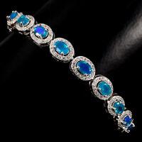 Sterling Silver 925 Genuine Blue Fire Opal Slider Bracelet / Anklet up to 10 In
