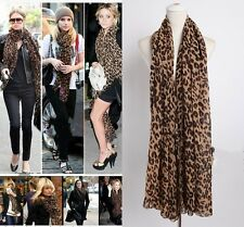 Women Ladies Leopard Print Soft Chiffon Shawl Scarf Long Wrap Stole Scarves New