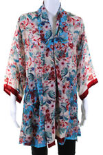 Johnny Was Womens Floral Print Tie Closure Blouse Red Blue Size Small