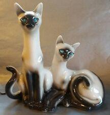 Vintage Siamese Cat TV Lamp 1958 Lane & Co. - Van Nuys California -  Green Eyes