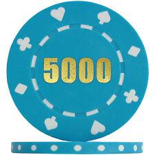 Budget Range Suited Numbered Poker Chips - Light Blue 5000 (Roll of 25)