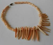 Vintage Asymmetrical Orange Cream Spiny Oyster Shell Necklace Heishi 40.6 Grams