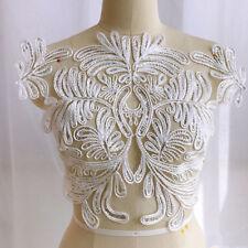 1x Embroidery Sequins Lace Applique DIY Wedding Dress Lace Fabric Applique