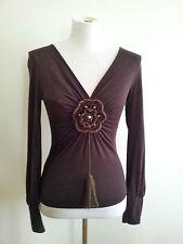 Satrinsha (Paris) size S chocolate viscose & laine long sleeve top with v-neck