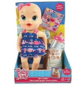 """Hasbro Baby Alive Sips 'n Cuddles Doll 10"""" Drinks and Wets Nautical Whale Dress"""