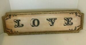 "Wall Sign Framed ""LOVE"" Colors Gold/Black Treated to Look Aged  24"" x 7"" NEW"