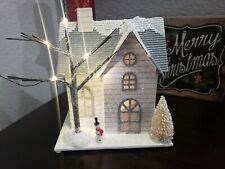 "CHRISTMAS Lighted LED Putz House Snowman Glitter House Village Decor 9"""