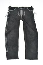 "Black Leather NATURAL LIFE Bavarian Straight Leg Jeans Trousers Size W40"" L30"""