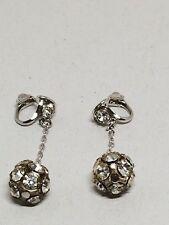 Vintage Rhinestone Ball Hanging Clip On Earrings
