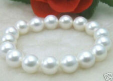 12MM AAA Perfect Round WHITE Shell Pearl Bracelet