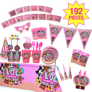 LOL Party supplies/Disposable tableware / Birthday decorations-Baby pink 192 pcs