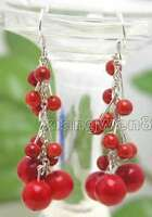 """SALE GENUINE 4-6mm Round Natural Red coral 2"""" Grape Dangle earring hook - ear103"""