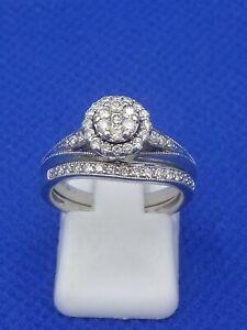 H Samuel 9ct White Gold 0.50 Carat Diamond 2 Ring Bridal Set Size L 4.5g