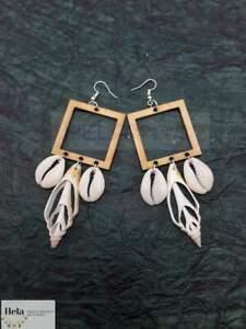 Fashion Women wooden Cute beach Earrings Sea shells Jewelry gifts.