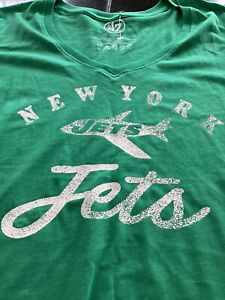 WOMENS 47 BRAND NFL NEW YORK JETS RETRO SHORT SLEEVE T SHIRT LARGE GREEN  NWT