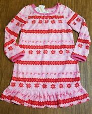 NEW GYMBOREE PINK RED LONG SLEEVE FLEECE NIGHTGOWN SIZE XSMALL 4 FAIR ISLE