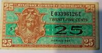 Series 521 25 Cents Military Payment Certificate MPC