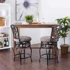 Counter Stools With Backs 24 Inch Swivel Chairs Bar Wrought Iron Tan Cushion 2PC