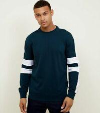 New Look Men Teal Side Stripe Crew Neck Sweatshirt - Size M , BNWT