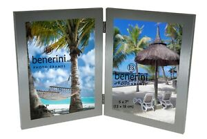 Double Photo Frame 5 x 7 Hold 2 Picture Silver Twin Vertical Folding Frame Gift