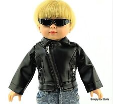 "BLACK Leather-Look DOLL JACKET COAT fits 18"" AMERICAN GIRL for ""BOY"" DOLL A/Z"