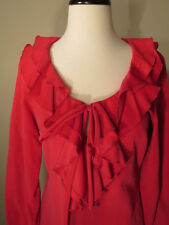 NWT Virginia Taylor Lipstick Pink Ruffle Neckline Fine Corduroy Top - S