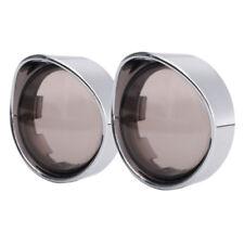 Turn Signal Cover Visor Ring Kit Smoked Lens Chrome For Harley