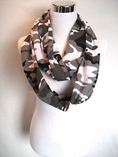 "Long Black Gray Grey White Camo Camouflage Jersey Knit Unisex 70"" Infinity Scarf"