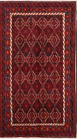 One-of-a-Kind Geometric Tribal Balouch Hand-Knotted 4x6 Wool Oriental Area Rug