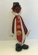 Vintage MURANO ART GLASS  Red black clear Clown Figurine