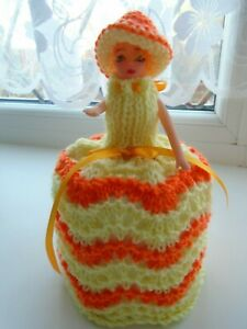 Hand Knitted Orange and Lemon Doll Toilet Roll Cover