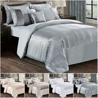 3 Piece Satin & Crushed Velvet Duvet Quilt Cover With Pillowcase Bedding Set