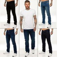 Enzo Mens Stretch Jeans Straight Leg Regular Fit Basic Denim Pants Sizes 28-50''