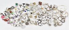 Lot 200g Sterling Silver Single Earrings Vintage Wear Scrap Stones Craft Gold