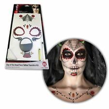 Day of the Dead Skeleton Sugar Skull Makeup SFX Set Temporary Flower Tattoo Coco