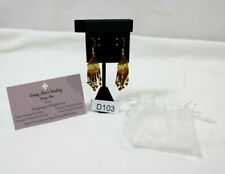 BEAUTIFUL HANDMADE BROWN/GOLD DANGLE/CHANDELIER EARRINGS ORGANZA BAG & BACKS
