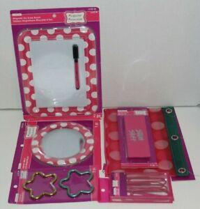 4PC Locker Magnetic Whiteboard Mirror Pencil bag Giant Eraser School Polka Dots