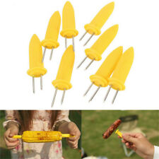 10X BBQ Kabob Skewer Sweetcorn Corn Cob Holders Fork Prongs Camping Too HU