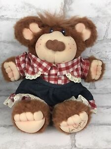 "Vintage Furskin Appalachian Plush Bear Gingham Dress CeCe 14"" By Xavier Roberts"