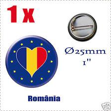 Badge Ø25mm Pays de l'europe des 28, drapeau en forme de coeur RO ROUMANIE