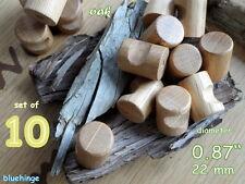 "10 small wooden wood kitchen door knobs handles drawers cabinets oak 0.87"" 22mm"