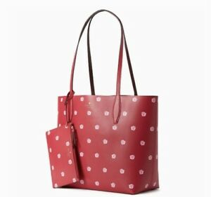 New Kate Spade Snail Large Reversible Tote with Pouch Enchanted Forrest Red