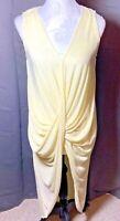 Daphnea Size L 14 16 Lemon Yellow Midi Dress Asymmetrical Hi Low Ruched Waist