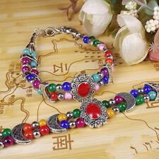 Women Bangles Tibetan Silver Bangle Jewelry Handmade Crafts Multi Beads 4MM