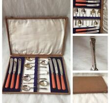 Vintage Silver Plated EPNS APOSTLE TEA SPOONS & TONGS AND BUTTER KNIVES WITH BOX