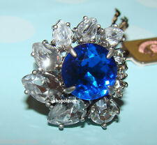 NIB Juicy Couture Gemstone Cocktail Flower Ring Blue Silver Adjustable