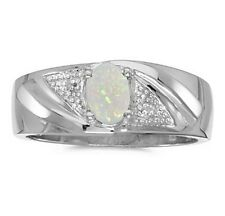 Mens Genuine Opal and Diamond Ring 10K White Gold